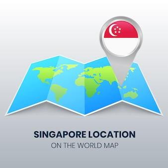 Icona della posizione di singapore sulla mappa del mondo, icona perno tondo di singapore