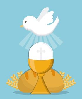 Icona della religione dell'oro del pane della tazza della colomba