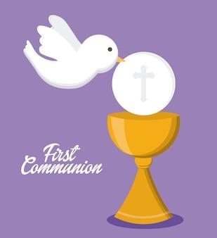 Icona della religione dell'oro della tazza della colomba