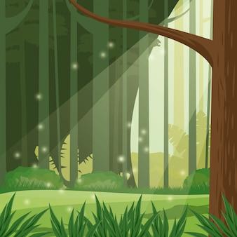 Icona della scena del paesaggio giorno foresta