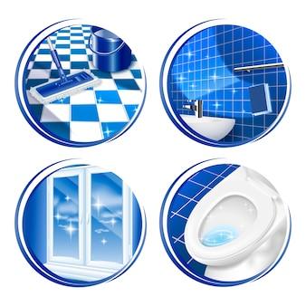 Icona della superficie della casa di pulizia