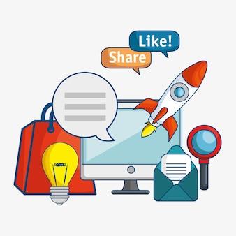 Icona della tecnologia di marketing digitale
