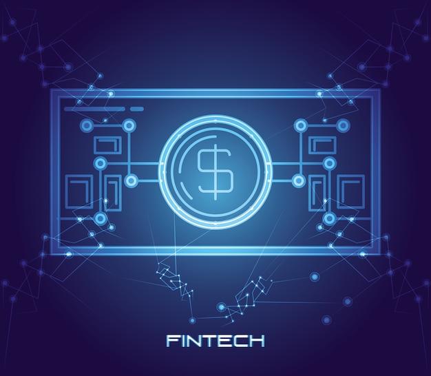 Icona della tecnologia finanziaria di denaro fattura