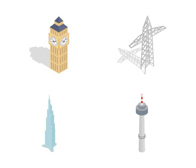 Icona della torre impostata su sfondo bianco