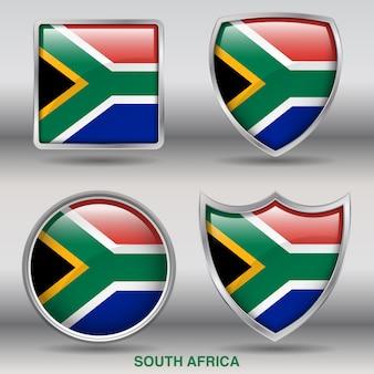Icona di 4 forme smussate bandiera sudafrica
