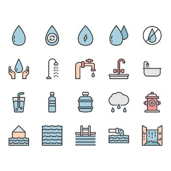 Icona di acqua e set di simboli