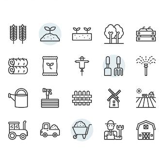 Icona di agricoltura e agricoltura e insieme di simboli nel profilo