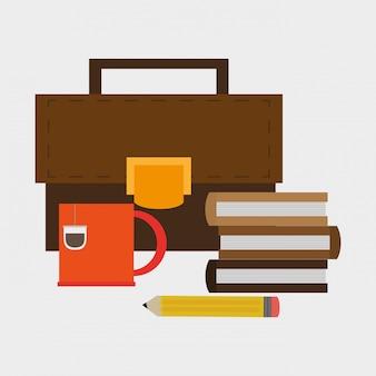 Icona di articoli correlati ufficio cartella e libri