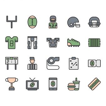 Icona di attrezzature e attività di football americano e set di simboli