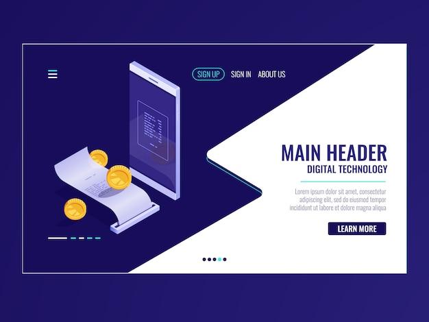 Icona di banking online isometrica, fattura di elettrone di pagamento, sistema di fatturazione, notifica di pagamento