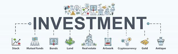 Icona di banner web di investimento per affari e finanza.