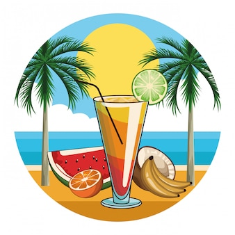 Icona di bevanda cocktail tropicale