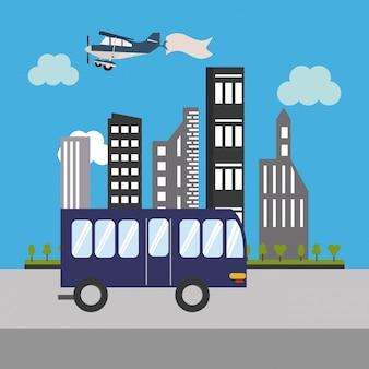 Icona di bus ed edifici urbani