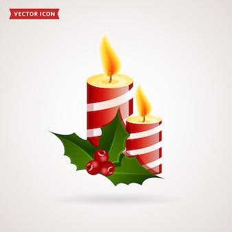 Icona di candele di natale.