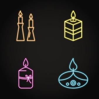 Icona di candele luminose impostata in stile linea al neon
