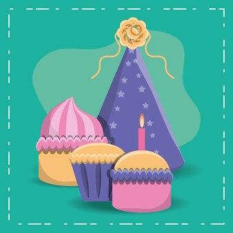 Icona di cappello di compleanno cupcakes e partito su sfondo turchese