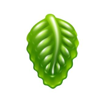 Icona di caramelle di gelatina verde foglia.