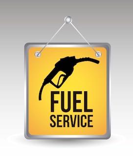 Icona di carburante sopra illustrazione vettoriale di annoumement giallo