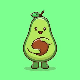 Icona di cartone animato carino avocado