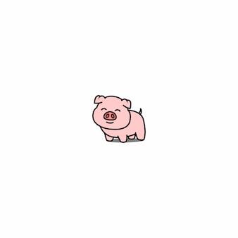 Icona di cartone animato sorridente maiale carino