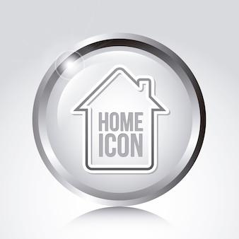 Icona di casa sopra illustrazione vettoriale sfondo grigio