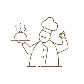 Icona di chef baffi su sfondo bianco