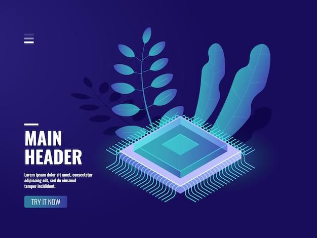 Icona di chip di computer microelettronici, processo di calcolo dei dati, sala server, archiviazione cloud