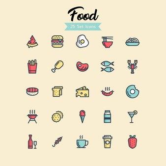 Icona di cibo imposta stili di contorno