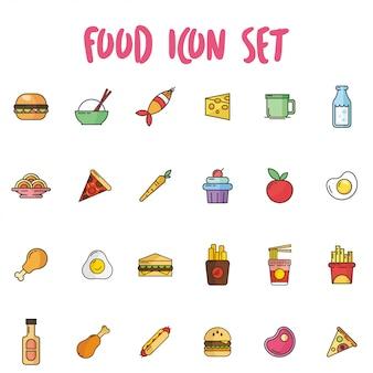 Icona di cibo impostato in stile contorno con colori pastello