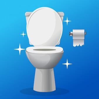 Icona di ciotola di servizi igienici pulito vettore bianco ceramica con una carta tolet su un hangaer.