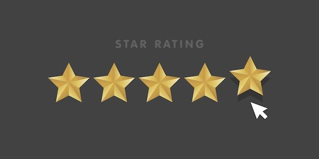 Icona di clic del mouse di valutazione della stella dorata