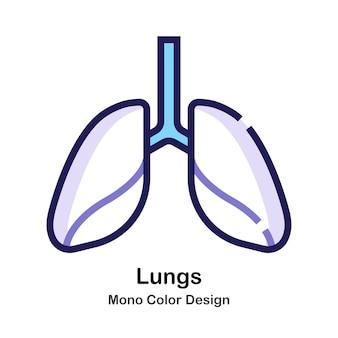 Icona di colore mono polmoni