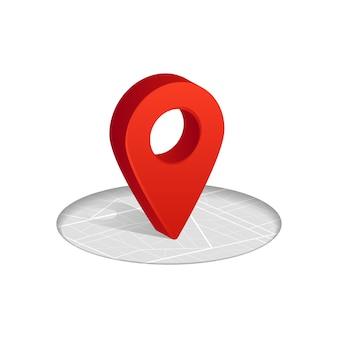 Icona di colore rosso di 3d gps che cade sulla mappa stradale su bianco