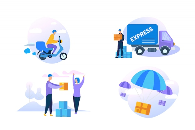 Icona di consegna espressa impostata su sfondo bianco.