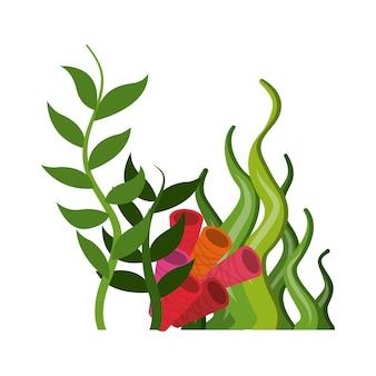 Icona di corallo e alghe. progettazione di vita marina. grafica vettoriale