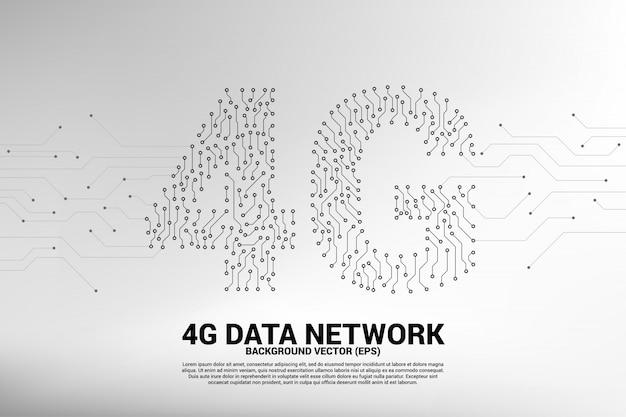 Icona di dati mobili in stile 4g dot line circuit board.