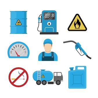 Icona di design piatto stazione di benzina