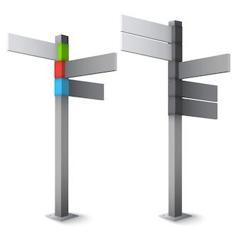 Icona di direzione del segnale stradale su sfondo bianco isolato.