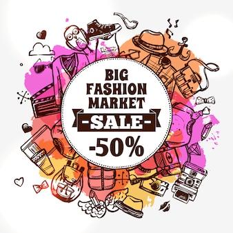Icona di doodle di sconto abbigliamento moda hipster