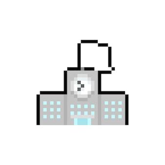Icona di edificio scolastico di pixel art.