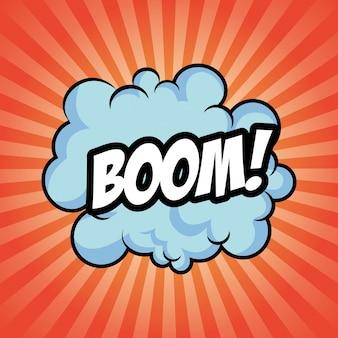 Icona di esplosione a strisce nuvola boom bomba.