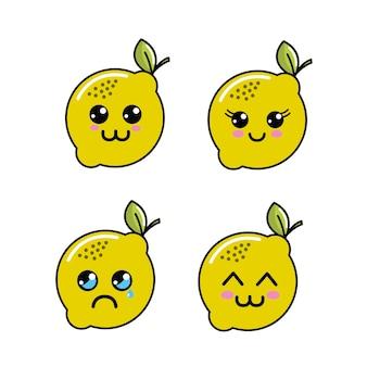Icona di facce di limone kawaii diferenti