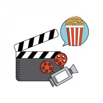 Icona di film piatto linea piatta