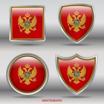 Icona di forme smussate bandiera del montenegro 4