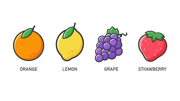 Icona di frutta. arance, limoni, uva e fragole stile piatto che sembra semplice.