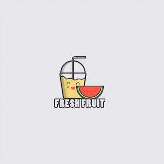 Icona di frutta fresca con succo e anguria