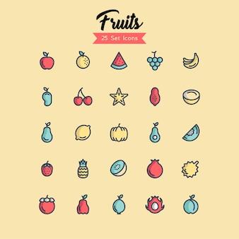 Icona di frutta imposta stili di contorno