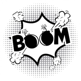 Icona di fumetti boom su sfondo punteggiato illustrazione vettoriale
