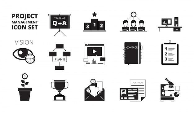 Icona di gestione del progetto. il team di produttività dei responsabili dell'ufficio di pianificazione del lavoro gestisce i simboli neri di vettore dei processi aziendali