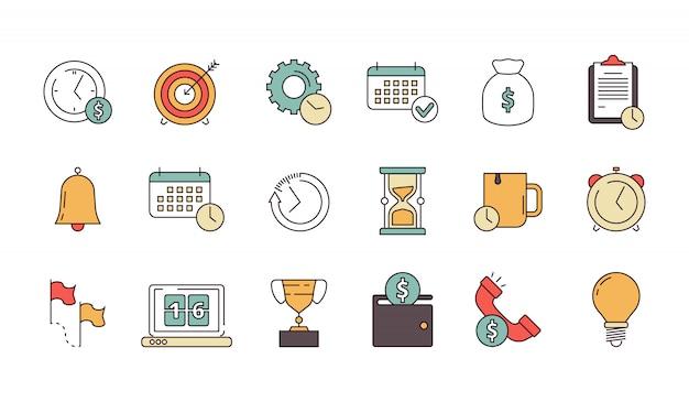 Icona di gestione produttiva. la produttività aziendale ricorda ai servizi di risparmiare tempo, i dipendenti hanno previsto simboli lineari isolati